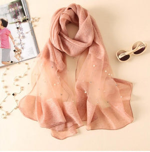 Europe fashion new scarf handmade bead pearl silk wool solid color scarves summer air conditioning shawl wrap-geekbuyig