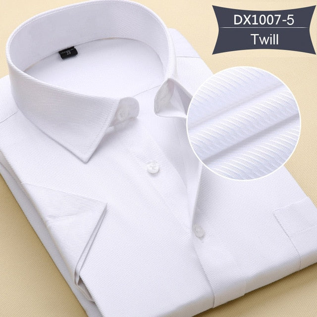 2018 New Arrival Men Work Shirts Summer Short Sleeve Solid Color Business Formal Man Socail Shirt Plus Size 6XL 7XL 8XL-geekbuyig