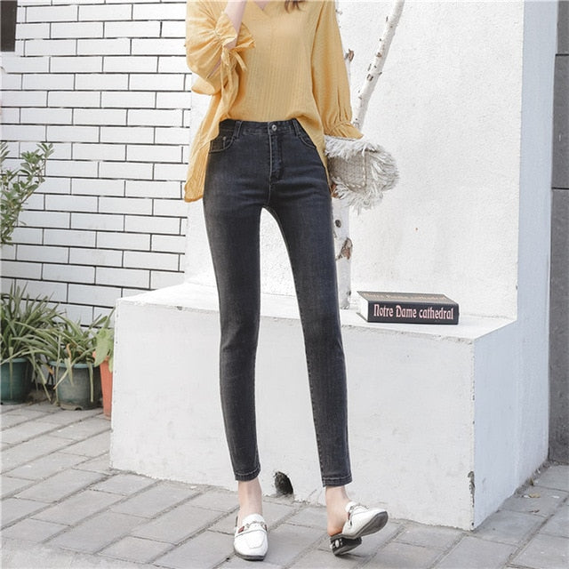 Summer autumn new arrive fashion female classic vintage blue wild casual slim skinny jeans women pencil jeans trouser denim pant-geekbuyig