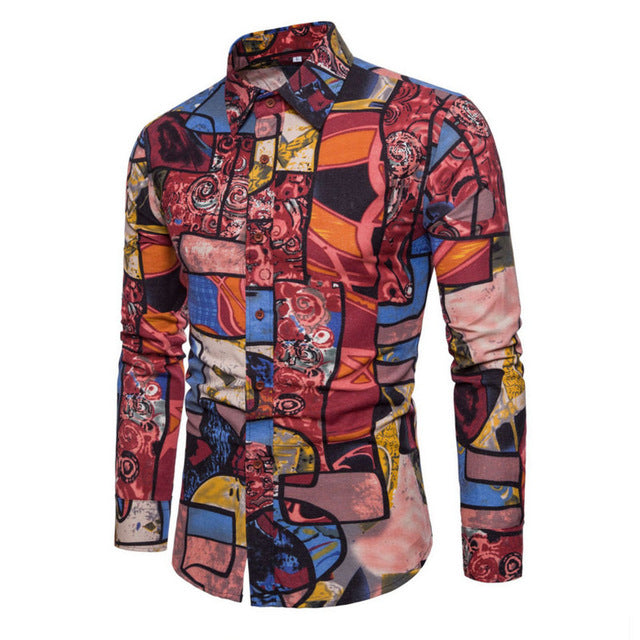 2018 New Fashion Casual Men Shirt Long Sleeve Europe Style Slim Fit Shirt Men High Quality Cotton Floral Shirts Mens Clothes-geekbuyig