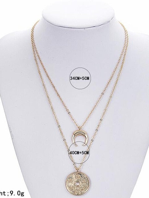X77Puck Bohomian Multilayer Necklace Women Round Coin&Half Moon Pendant Necklace For Women Metal Gold Color Sequins Jewelry-geekbuyig