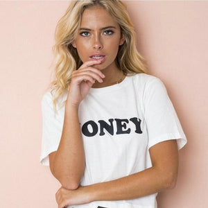 BLWHSA Honey Red Letters Print T Shirts Women Casual Short Sleeve 100% Cotton Slogan T-shirt Women Funny Lady Tops Tees-geekbuyig
