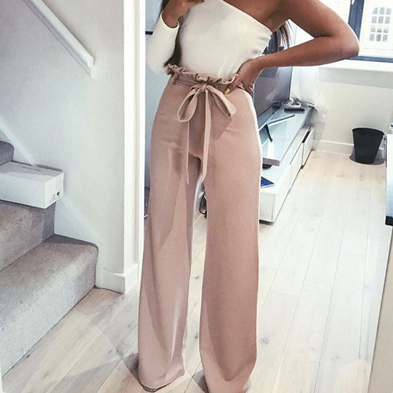 2018 Best Sell Fashion Pink White Amry Green Black Four Colors High Wasit Solid Casual Bandage Sashes Long Elegant Loose Pants-geekbuyig