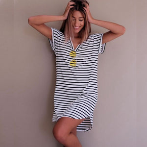 Women Fashion Short Sleeve Striped Loose Dress Roupa feminina T shirt striped everyday dresses Summer Autumn Vestido de verao-geekbuyig