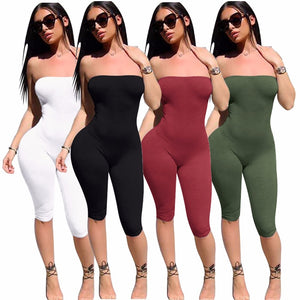 New arrive best quality 2017 summer rompers sexy strapless knee length jumpsuit elegant bodycon rompers 6381-geekbuyig