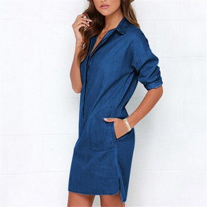 Casual Women Denim Shirt Dress Summer Irregular shirt dress Long Sleeve Sexy Mini Dress Casual Loose Jean Dresses LJ1286E-geekbuyig