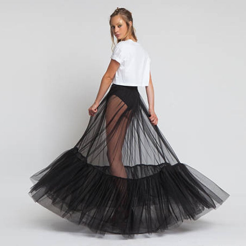 Sheer One Layer Black Maxi Skirt See Through Women Black Long Tulle Skirt with Unique Ruched Edge 2018 New Design NO LINING-geekbuyig