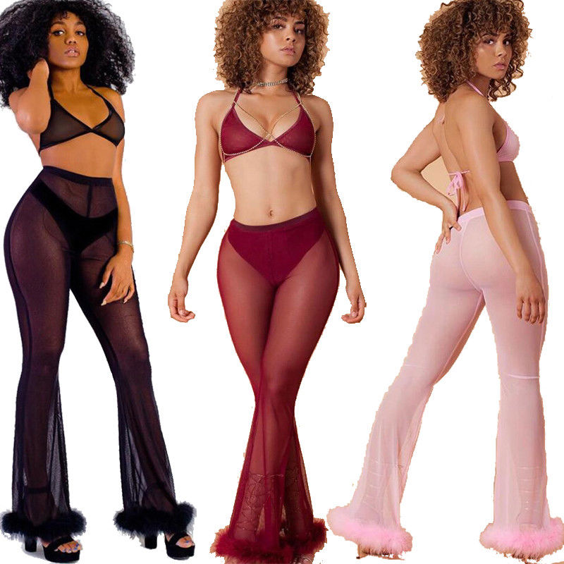 Women's Sheer High Waist Casual Full Length Flare Pants see through Wide Leg Long Trousers Leggings-geekbuyig