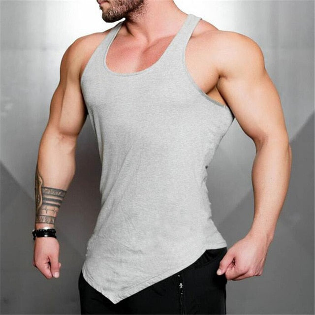 Brand Solid Color Clothing Gyms tank top men Fitness Sleeveless Shirt Cotton blank Muscle vest Bodybuilding Stringer Tanktop-geekbuyig