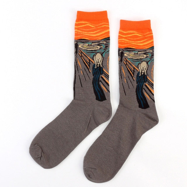 Hot Starry Night Autumn Winter Retro Women Personality Art Van Gogh Mural World Famous Painting Male Socks Oil Funny Happy Socks-geekbuyig