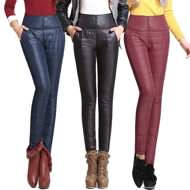 2017 New Winter Pants High Waisted Outer Wear Women Fashion Slim Warm Windproof Plus Velvet Thick Down Pants Trousers-geekbuyig