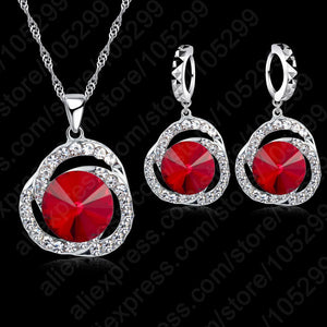 Jemmin Charm Women Red Crystal Pendants Necklace Earrings Set Gift Bridal Wedding 925 Sterling Silver Jewelry Sets Accessory-geekbuyig