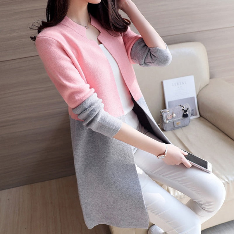 2018 Autumn Knitting Loose Fashion Women's Cardigans Patchwork Long Sleeve Simple Style Female Sweaters Korea Style Coats-geekbuyig