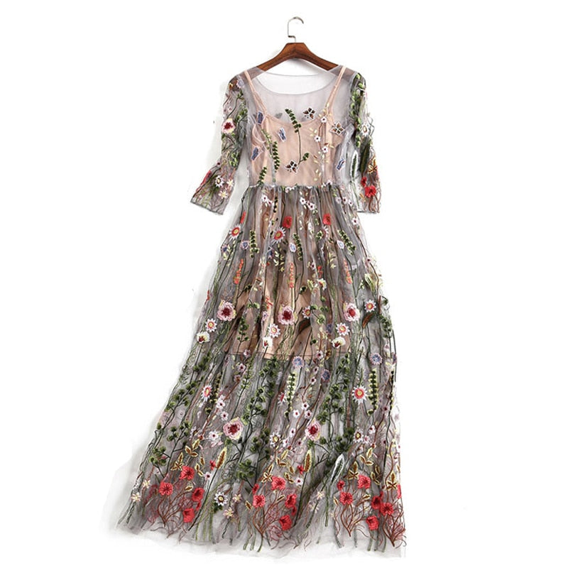 Bamskarosa Runway 2018 Evening Party Dresses Gorgeous Half Sleeves Sheer Mesh Embroidery Boho Bohemian Long Dress Brand Style-geekbuyig