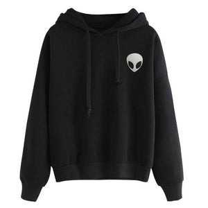 2017 Fashion Women Men Full Sleeve Hooded Alien Embroidery Two Color Lovers Clothes Pullover Female Male Hoodies Tops-geekbuyig