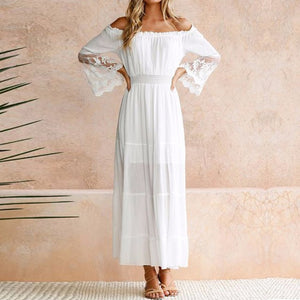 Moonbiffy Summer Sundress Long Women White Beach Dress Strapless Long Sleeve Loose Sexy Off Shoulder Lace Boho Cotton Maxi Dress-geekbuyig