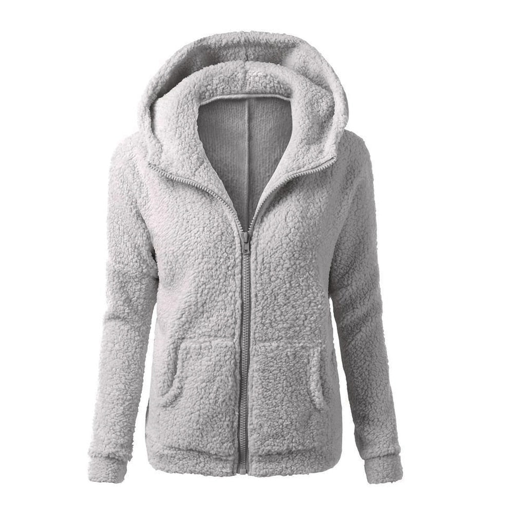 Winter Autumn Women's Thick Fleece Warm Long Sleeve Sweatshirt Solid Coat Female Zip-Up Outerwear Cute Hoodies Coat With Pockets-geekbuyig