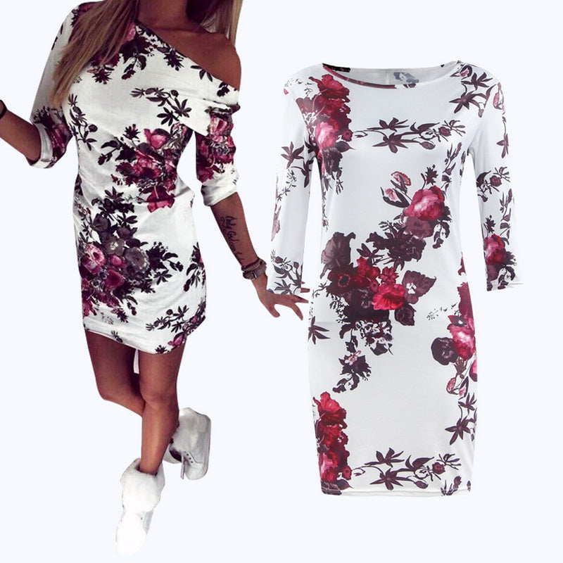 Elegant Floral Printed Women Summer Dress 2018 Half Sleeve Empire Casual vestido Skinny Bodycon Mini Party Pencil Dress Women-geekbuyig