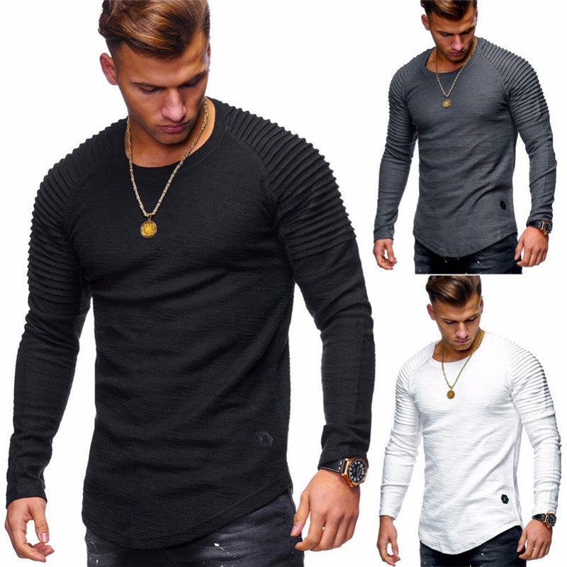 Hot 2018 New Spring Fashion Brand O-Neck Slim Fit Long Sleeve T Shirt Men Trend Casual Mens T-Shirt Europe and America T Shirts-geekbuyig