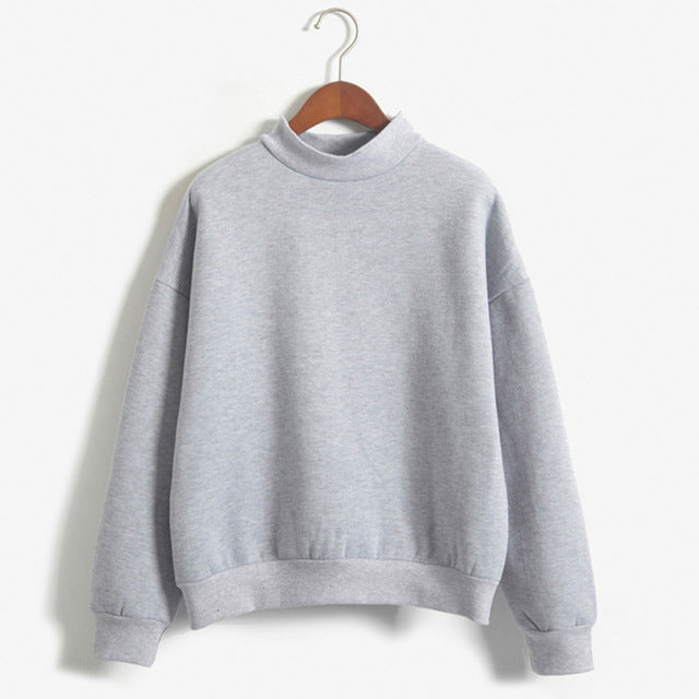 Autumn Pullovers Women Solid Long Sleeve Cotton Sweatshirt Women O Neck White Casual Oversize Puff Sleeve Hoodies Sweatshirt-geekbuyig