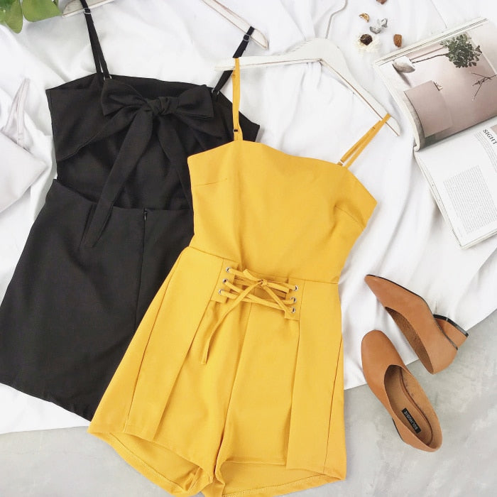 Summer Urban Women Pure Cross Drawstring Playsuit Shorts Ladies Elegant Backless Bowknot Romper Sexy Shorts Overalls Jumpsuits-geekbuyig