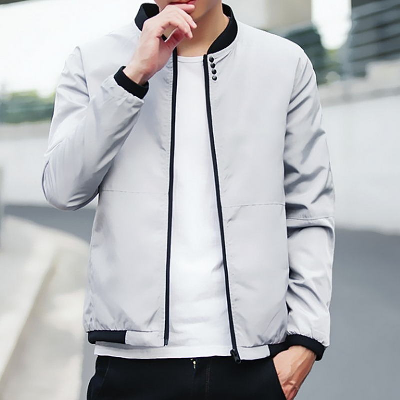 2018 New Spring Autumn Casual Solid Fashion Slim Men Bomber Jacket Male Baseball Men's windbreaker Jackets Coat Men's Jacket XL-geekbuyig