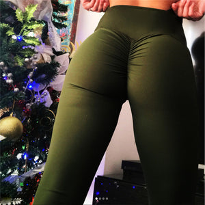 Hayoha Fashion Bottom Wrinkles Push Up Leggings Women Fitness Slim Jeggings High Elastic Wicking Dry Quick Sporting Pants-geekbuyig