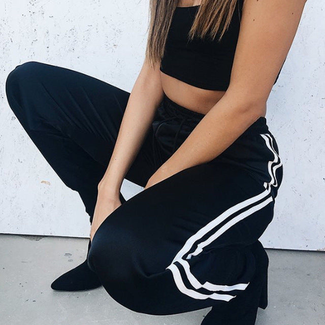 Womens High Waist Side Striped Trousers Sexy Summer Ladies Stripe Pants 2018 NEW Active Track Pants Size 6-14
