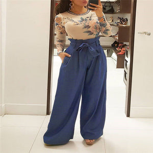 Newly Summer Fashion Casual Women Wide Leg Pants Loose Slim Solid Sashes Elastic Waist High Waist Pants 4 Style-geekbuyig