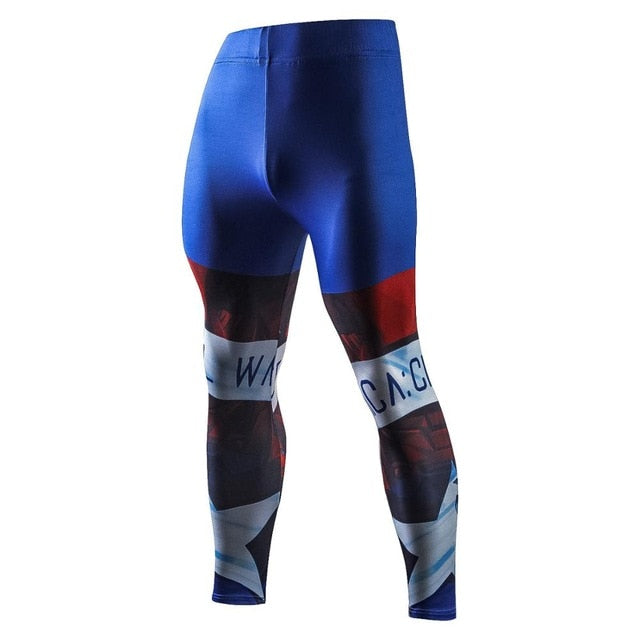 New High Quality Men Skinny Pants 3D Pattern Superman Spiderman Flash Bodybuilding Jogger Fitness Skinny Leggings Trousers-geekbuyig