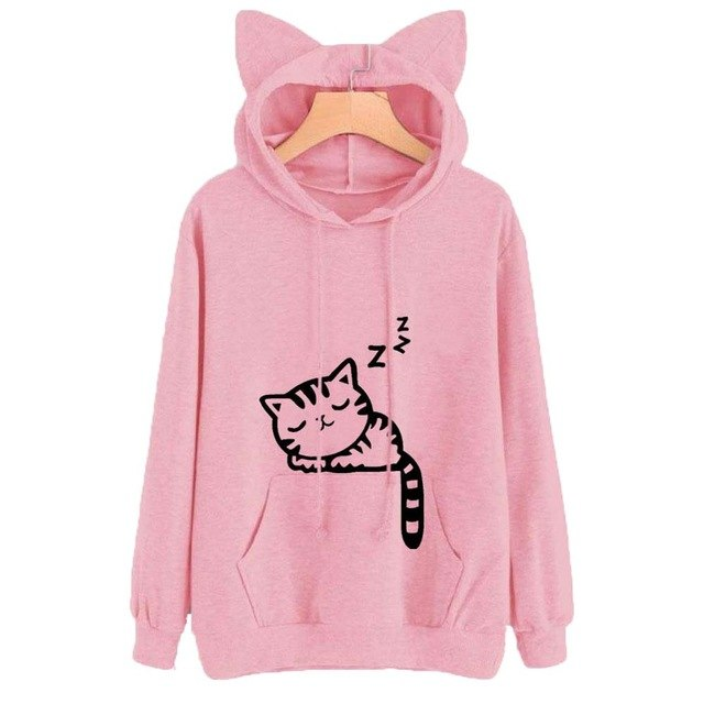 Female Women Casual Hoodies Sweatshirt Long Sleeve Hoody Cat Cute Ears Printed Hoodies Tracksuit outerwear Sweatshirt-geekbuyig