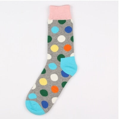 Colorful Point fashion Men socks women Stripe Korea socks Cotton long brand new high quality lovers women socks men's sock-geekbuyig