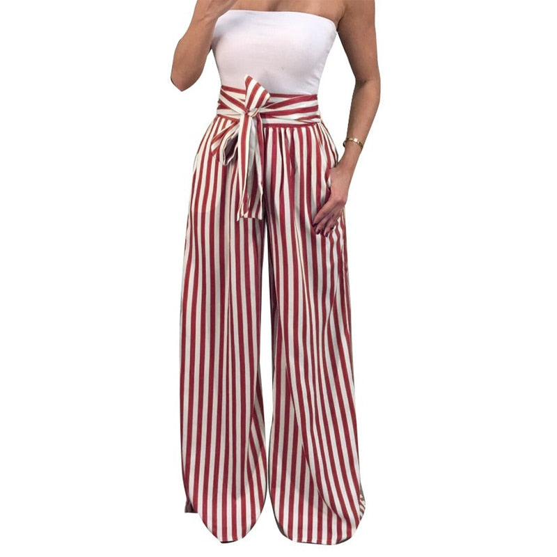 ZADORIN 2018 Summer New Bow Tie Wide Leg Pants Women High Waist Long Striped Pants Loose Casual Boho Trousers Palazzo Pants-geekbuyig
