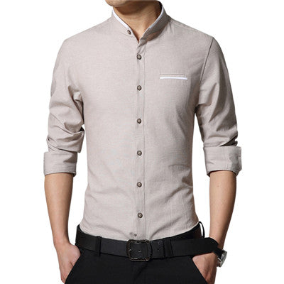 2018 New Brand Men's Casual Shirt Long Sleeve Banded Collar Easy Care Collarless Shirts Slim Fit Dress Shirt For Men Business-geekbuyig
