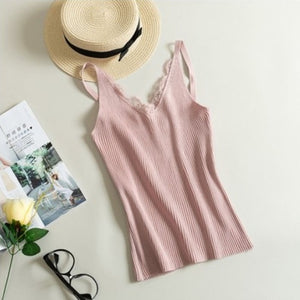 New Free Size Vest Women Fashion Fitness V Neck Sexy 1PC Knitted Lace Korean Solid 2018 Summer Tank Tops Lace-geekbuyig
