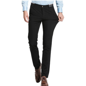Pure Color Small Stretch Men's Trousers 28 29 30 31 32 33 36 38 Black Navy Blue Fashion Business Casual Man Pants Slim Elegant-geekbuyig