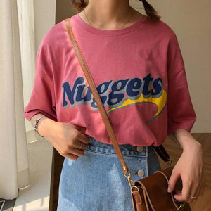 Oversize Loose Casual Letter Printed Vintage Top Long Design Basic 2018 New Fashion Streetwear Short Sleeve Female Women Tshirt-geekbuyig