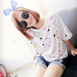 Spring Summer Female Printing T Shirt Pullover Loose Outerwear Cartoon Hello Kitty Cute Tee Women Causal Pullover Tshirt-geekbuyig