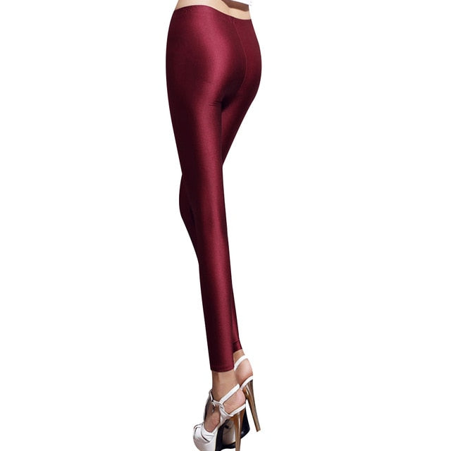 Hot 2018 Summer Spring Sexy Skinny Pencil Pants White Women Shiny High Waist Long Pants Ladies Stretchy Pants Leggings Female-geekbuyig