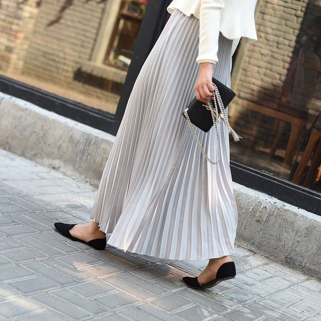 Sherhure 2018 Autumn Women Skirt Vintage Long Skirt Saias High Waist Women Maxi Skirt Saia Longa Falda Pleated Skirt Jupe-geekbuyig