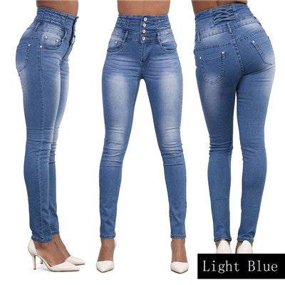 2016 New Arrival Wholesale Woman Denim Pencil Pants Top Brand Stretch Jeans High Waist Pants Women High Waist Jeans-geekbuyig