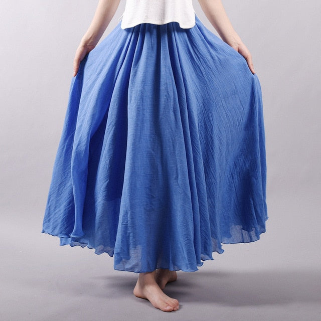 Sherhure 2018 Women Linen Cotton Long Skirts Elastic Waist Pleated Maxi Skirts Beach Boho Vintage Summer Skirts Faldas Saia-geekbuyig