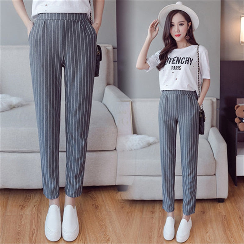 Vertical Striped Harem Pants Trousers 2018 New Spring Summer Loose Casual Elastic Waist Pants Ankle-Length Pants Dropshipping-geekbuyig