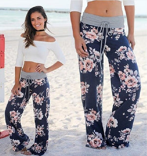 Ladies Floral Print Wide Leg Pants Women Long Drawstring Casual Loose Pant 2018 Spring Boho Beach Elastic High Waist Trousers