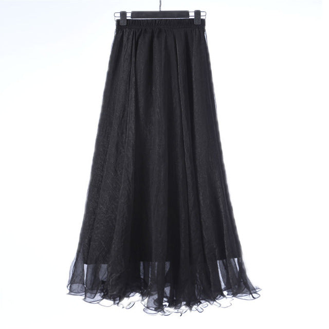 2018 High Waist Women Chiffon Skirt Long Womens Beach Summer Boho Maxi Skirt Saia Longa Faldas Ruffles Hem Long Skirt Brand-geekbuyig