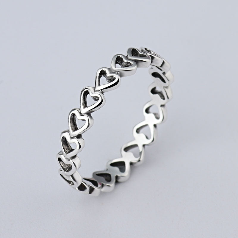 wholesale Hot Sale Fashion jewelry Real Pave Setting Plant Trendy LOVE 925 silver Retro woman Ring Ring-geekbuyig