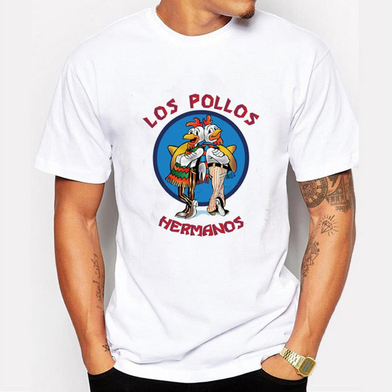 Men's Fashion Breaking Bad Shirt 2015 LOS POLLOS Hermanos T Shirt Chicken Brothers Short Sleeve Tee Hipster Hot Sale Tops-geekbuyig