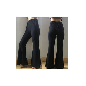 New Fashion Women Casual Slim High Waist Flare Wide Leg Palazzo Long Trousers Pants Soft Casual Pants-geekbuyig
