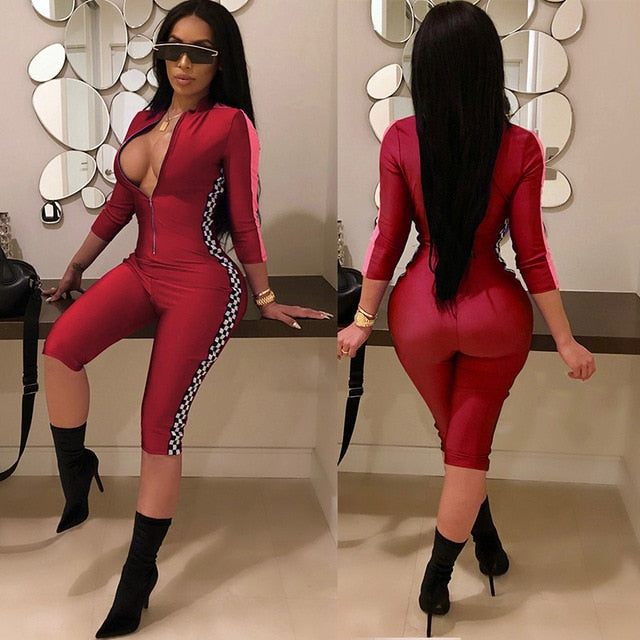Summer Playsuits Shorts Casual One Piece Rompers Sexy V-Neck Front Zipper Plaid Print Bodycon Jumpsuit Fitness Bodysuit Catsuit-geekbuyig