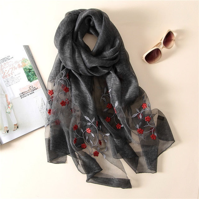 brand 2018 new women silk scarves fashion Embroidery high quality soft wool scarf lady pashmina shawls bandana foulard-geekbuyig